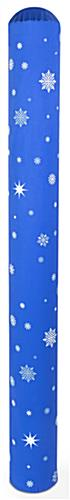 Bright blue snowflake pattern bollard post cover