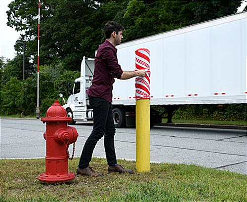slide-on candy cane bollard cover