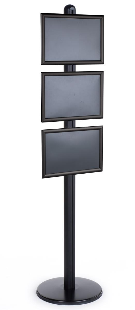Tall Metal Sign Stand Features 3 Snap Frames