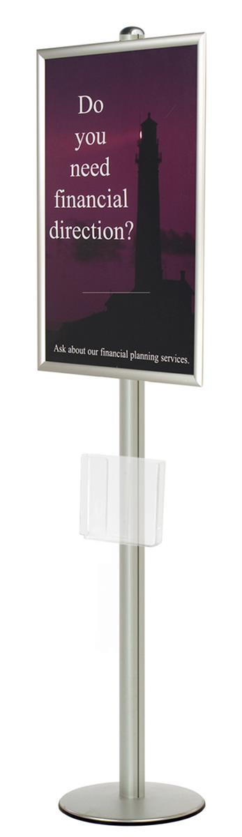 Snap Frame Display | Silver 24 x 36 Poster Stand w/ Round Base