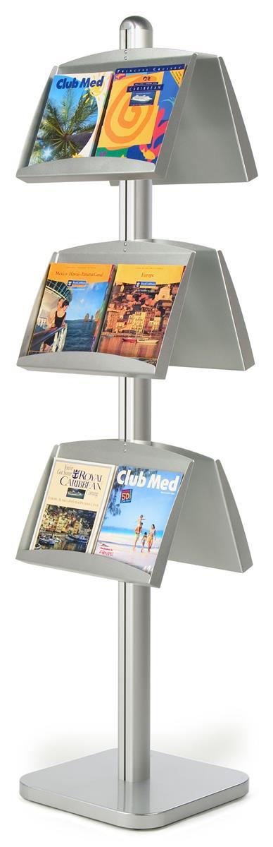 Displays2go 6-Pocket Literature Floor Stand, Open Pockets...