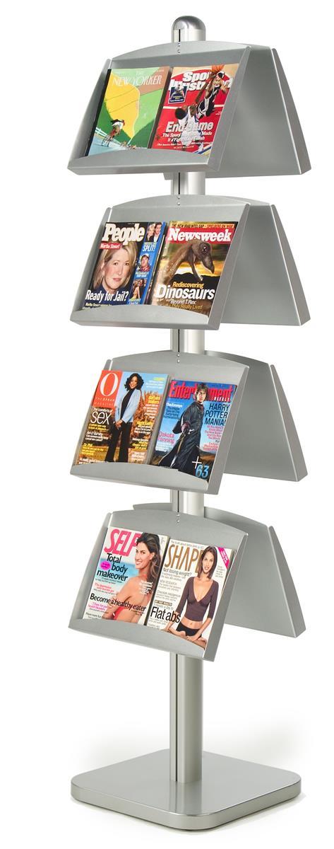 Displays2go 8-Pocket Literature Floor Stand, Open Pockets...