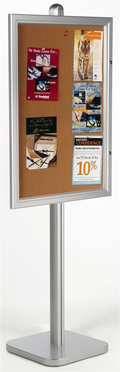 Displays2go 24 x 36 Enclosed Bulletin Board for Floor, Hi...