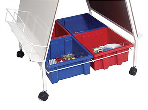 Folding Wheasel with Book Rack and 4 Tubs