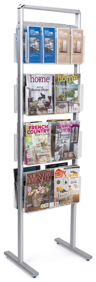 Displays2go 4-Tiered Literature Stand for Floor with Remo...
