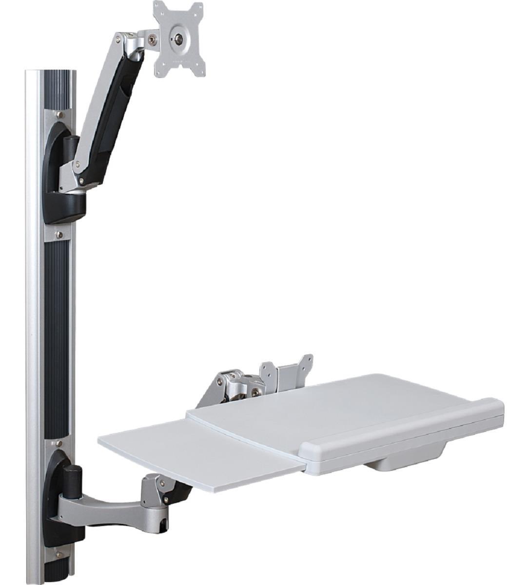 Wall Mounted Sit Stand Desk Single Monitor Bracket