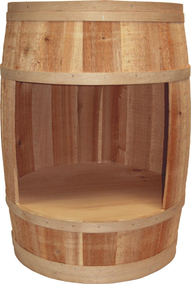 Display Barrel | Hollow Cylindrical Wooden Stave with Cutout