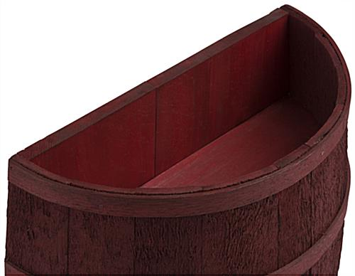 Cranberry Stained Half Barrel for Back Yard Gardens