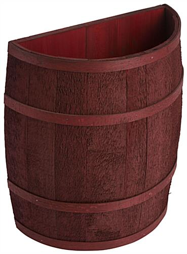 Cranberry Stained Half Barrel with Flat Back