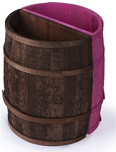Hand Coopered Magenta Barrel Display