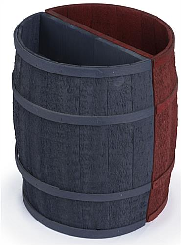 Navy Blue Barrel Display with Oak Bands