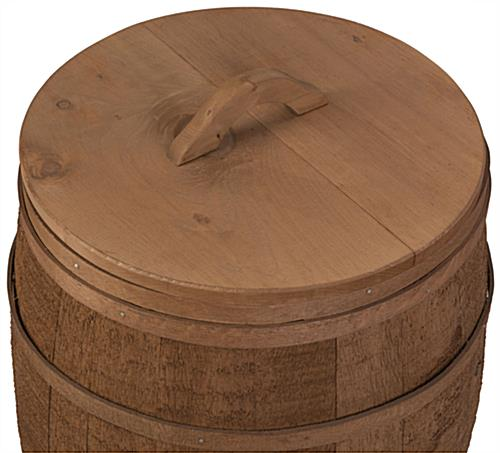 White Stain Light Brown: 18-Inch Display Barrel Lid