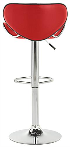 Red Bar Stool Leatherette Cushioned Seat W Foot Rest