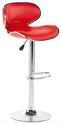 Red Bar Stool Rotates 360 Degrees