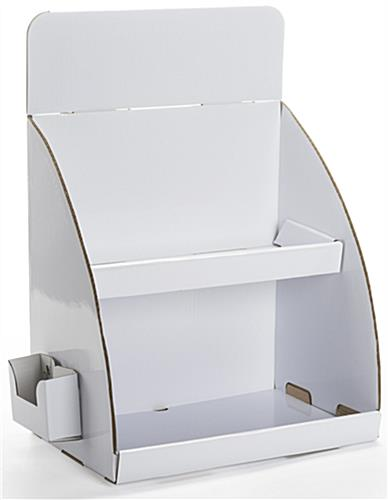 Tabletop Cardboard Display with Brochure Holder, White