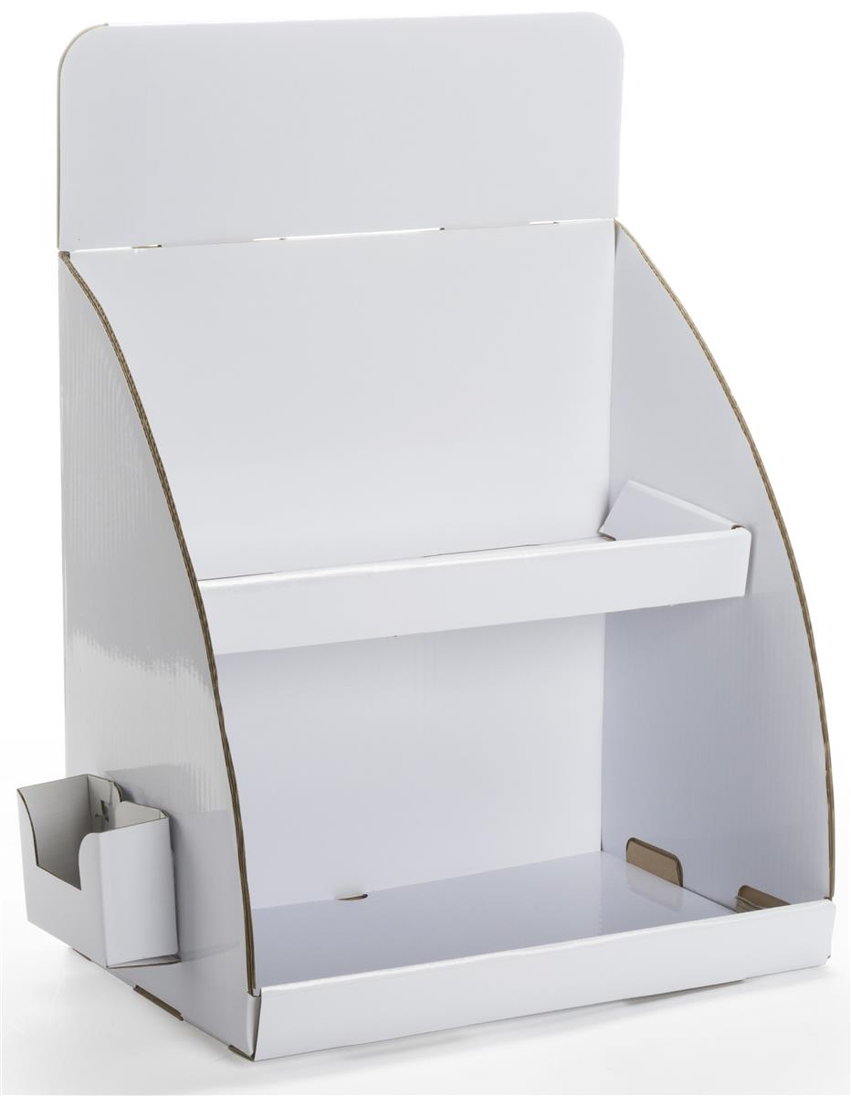 Tabletop cardboard display with brochure holder for Cardboard brochure holder