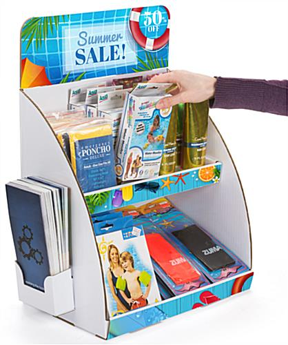 Multi-level 2-tier custom cardboard tabletop display stand