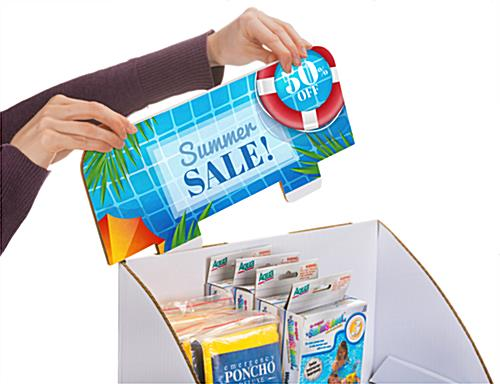 2-tier custom cardboard tabletop display stand with removable header