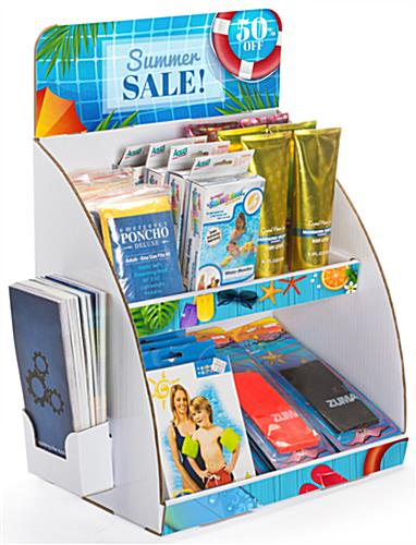 Personalized 2-tier custom cardboard tabletop display stand