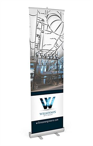 "Budget 24""x80"" retractable banner stand with silver base"