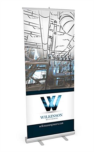 "Budget 33""x80"" retractable banner stand with custom graphics"