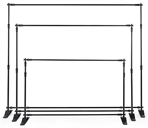 Step and repeat banner frame extendable up to 10 feet wide and 8 feet tall