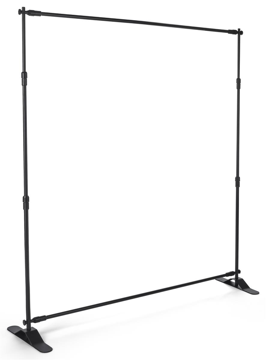 8'h x 10'w Step and Repeat Adjustable Aluminum Tube Frame - Black