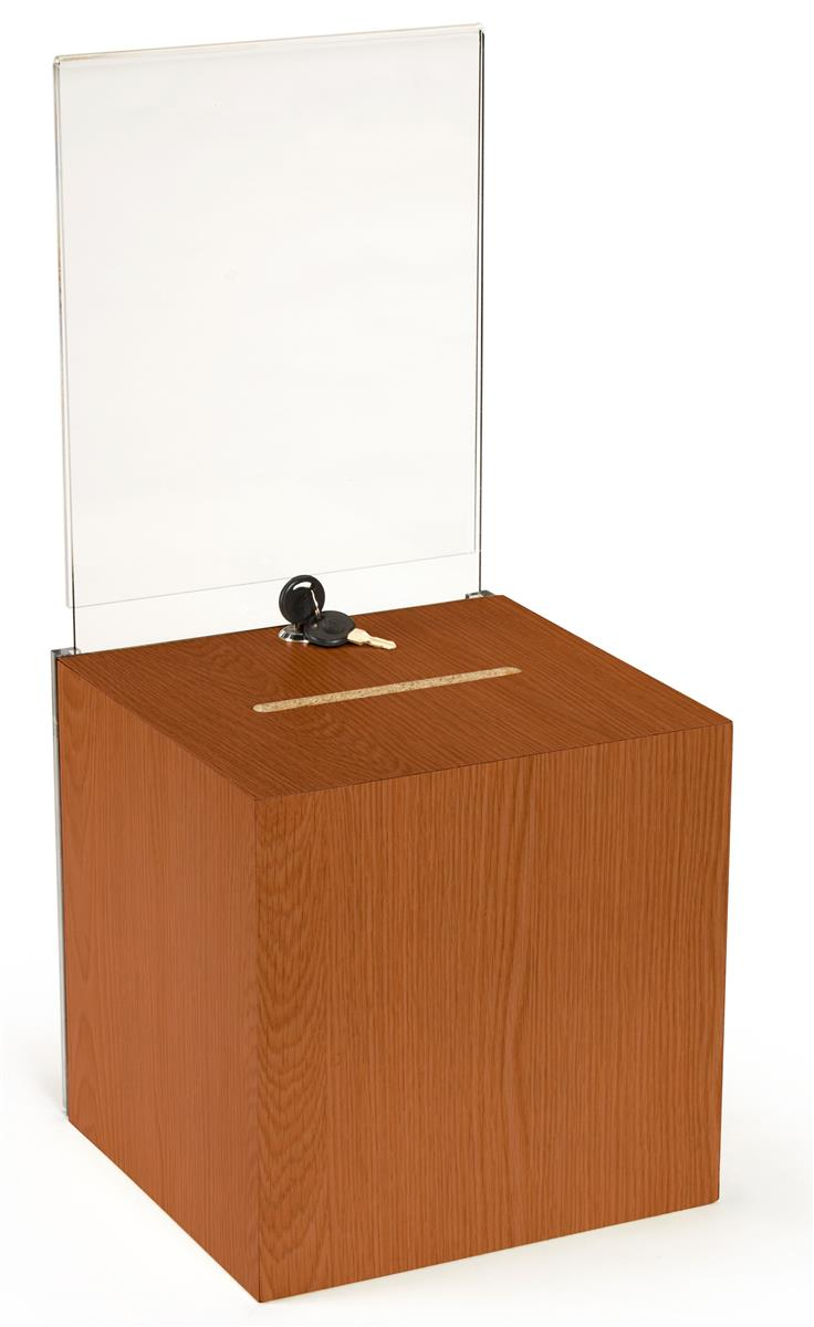 Wooden Donation Box   Locking Ballot Container