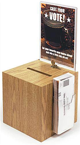 Suggestion Box Light Oak w/Brochure Pocket