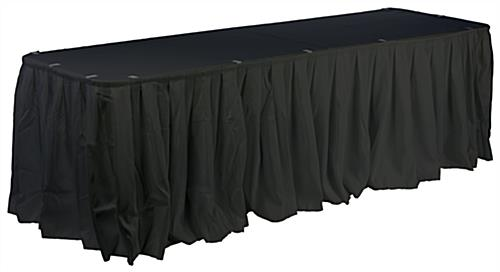 Black Table Linens Featuring Skirting, Clips And Tablecloth