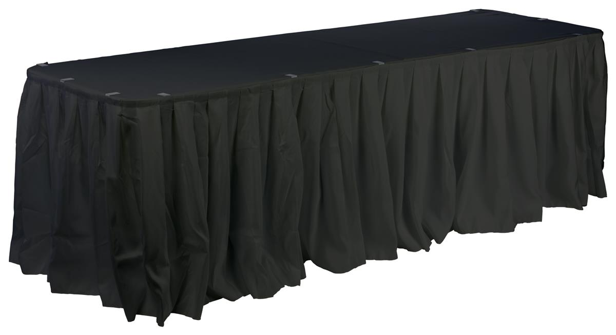 Table skirt with box pleated design black fabric for Table skirting