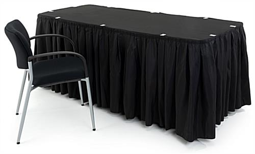 black table linens and black chair to show scale