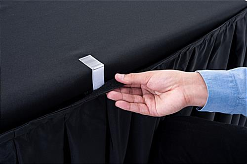 black table linens include table clips for easy set up