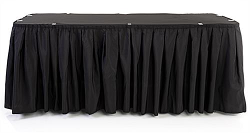 black table linens with pleated skirt pattern