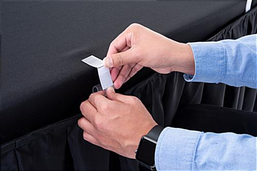 black table linens include table clips to easily install table skirt