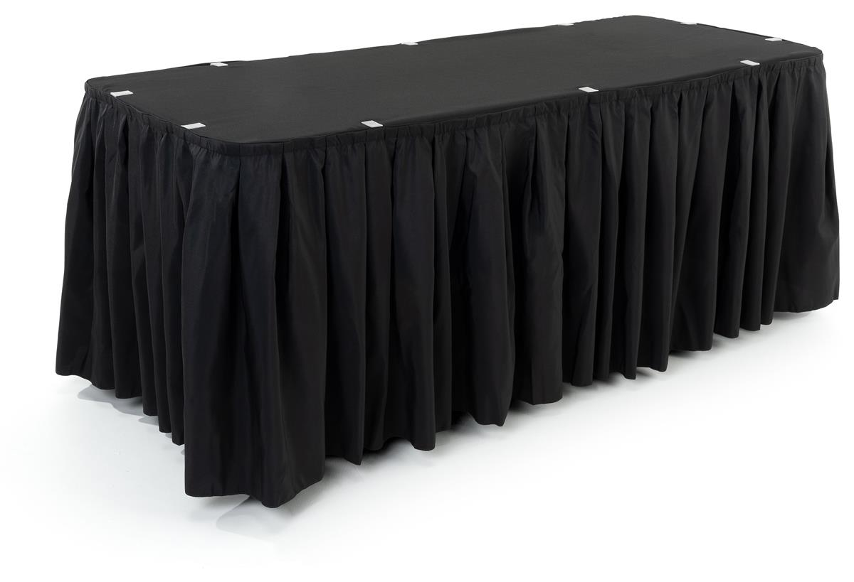 Pleasant 6 Table Topper With Pleated Skirt Black Download Free Architecture Designs Scobabritishbridgeorg