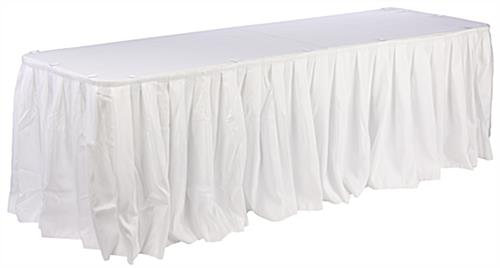 Pleated Table Skirts Utilize Hook and Loop Fasteners To Attach To Clips