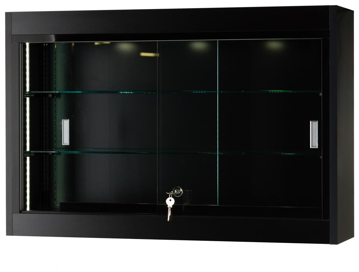 Black Wall Display Case Features Curved Front