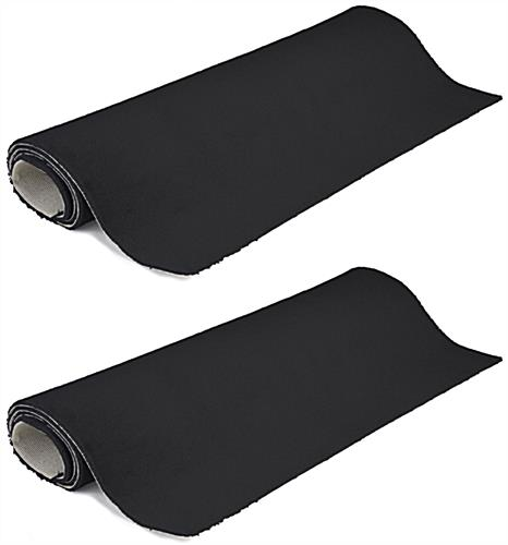 Set of (2) 5' x 10' strips for black rolled trade show carpet