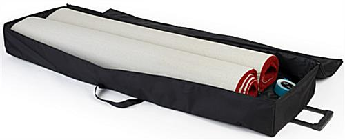 Portable 10' x 10' rollable red carpet with travel bag available for separate purchase