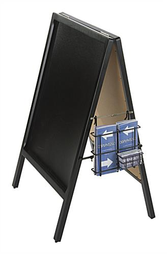 Black A-Frame Literature Pocket With Business Card Holder for Brochures and Magazines