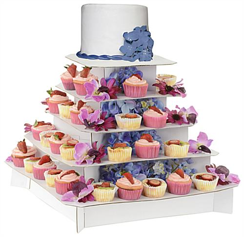 cupcake wedding cake stands photos square cupcake stand classic white 5 tier cardboard 13188