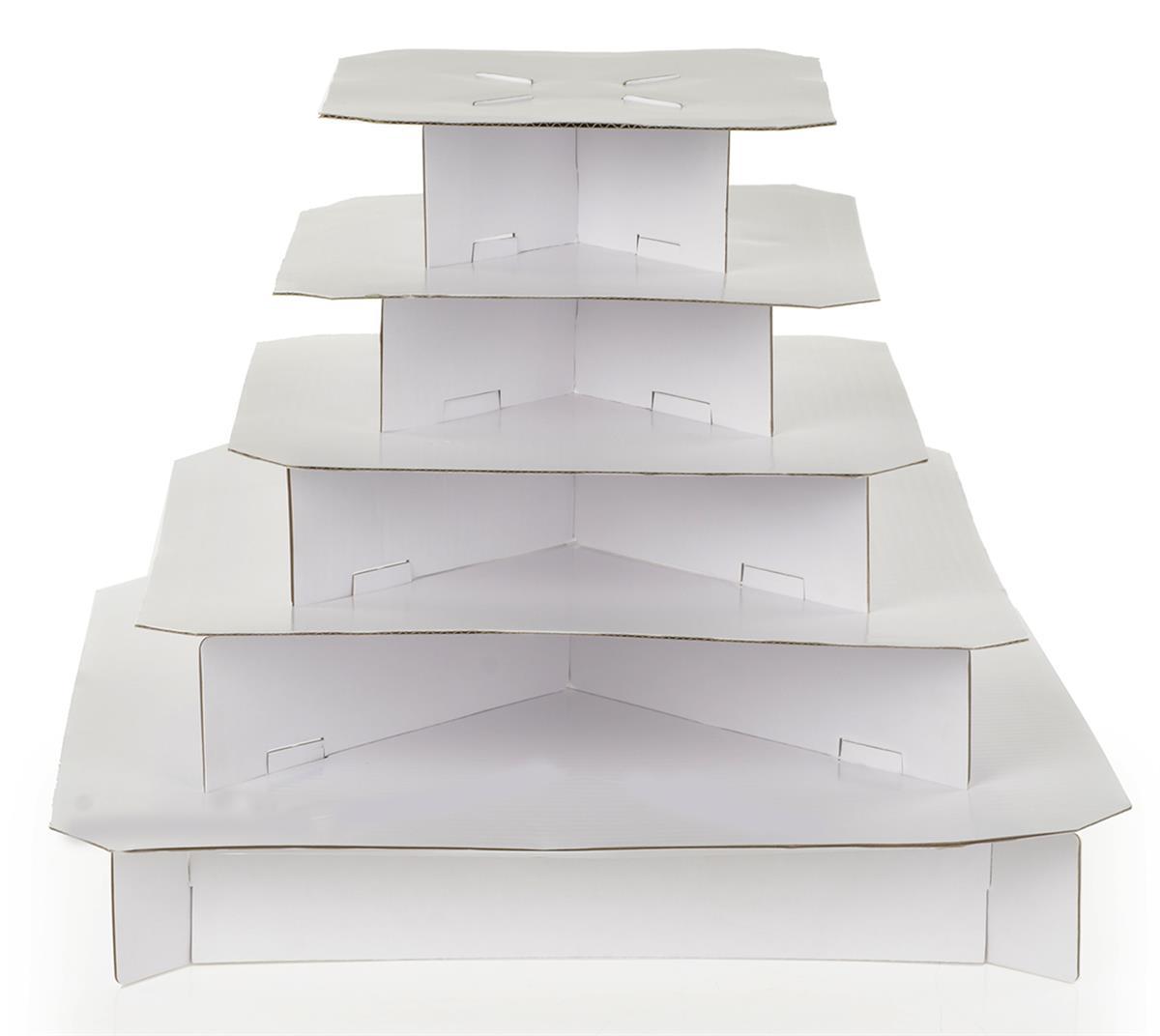 Square Cupcake Stand Classic White 5 Tier Cardboard