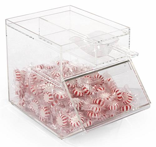 Plastic Candy Jar with Angled Front