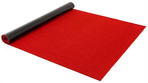 Step and repeat red carpet kit with durable runner made with non-slip PVC backing