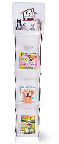 Corrugated magazine leaflet floor stand with recycled materials