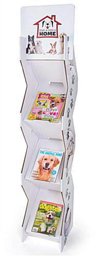 Corrugated magazine leaflet floor stand with customizable top header
