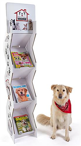 Corrugated magazine leaflet floor stand with brandable space