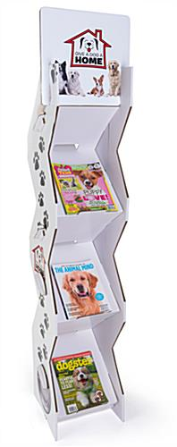 Corrugated magazine leaflet floor stand with 12 x 12 literature pocket