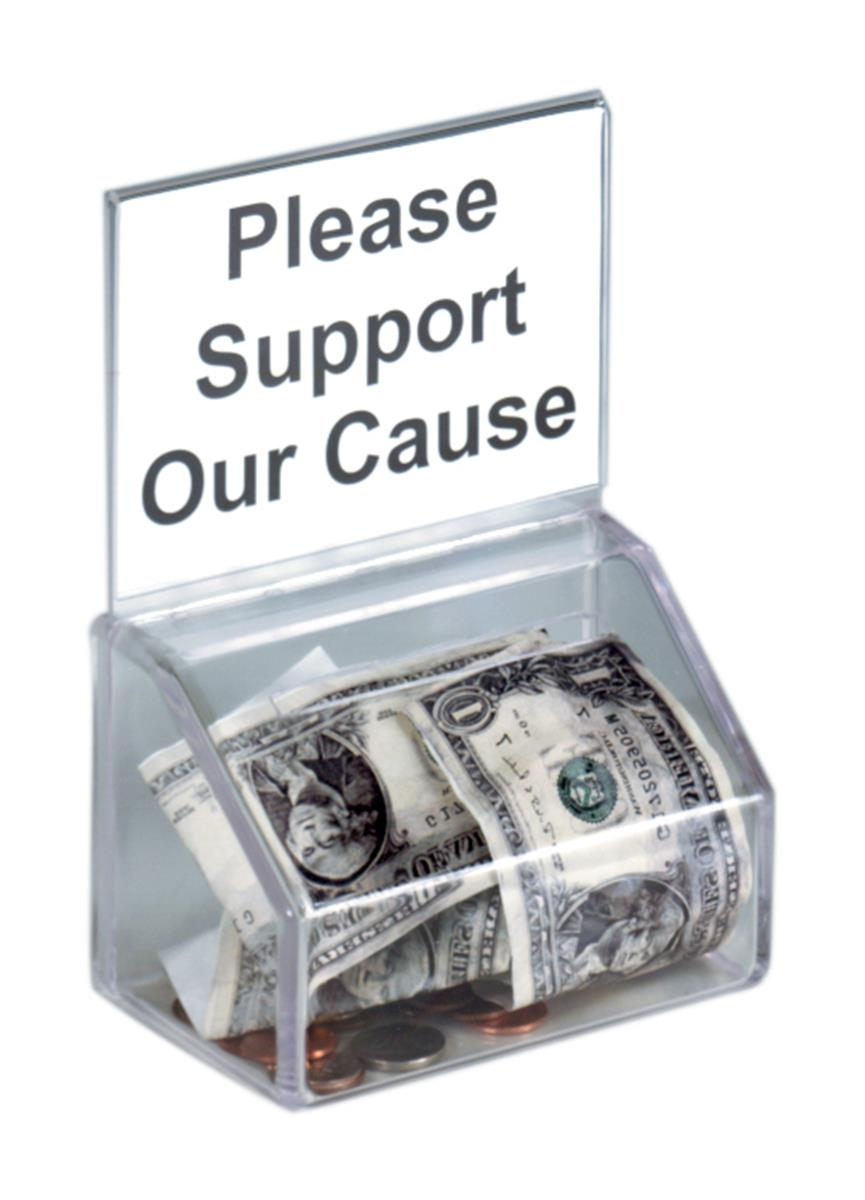 Molded Plastic Donation Box   Clear Sign Header